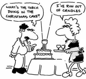 'What's the torch doing in the Christmas cake.'